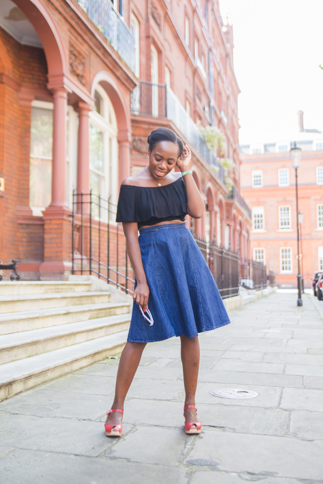 An off the shoulder top with a midi skirt is the perfect Summer outfit.