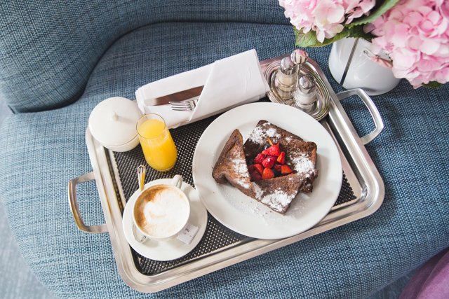 A pretty room service breakfast at the Pulitzer hotel in Amsterdam. The French toast had a Dutch twist.