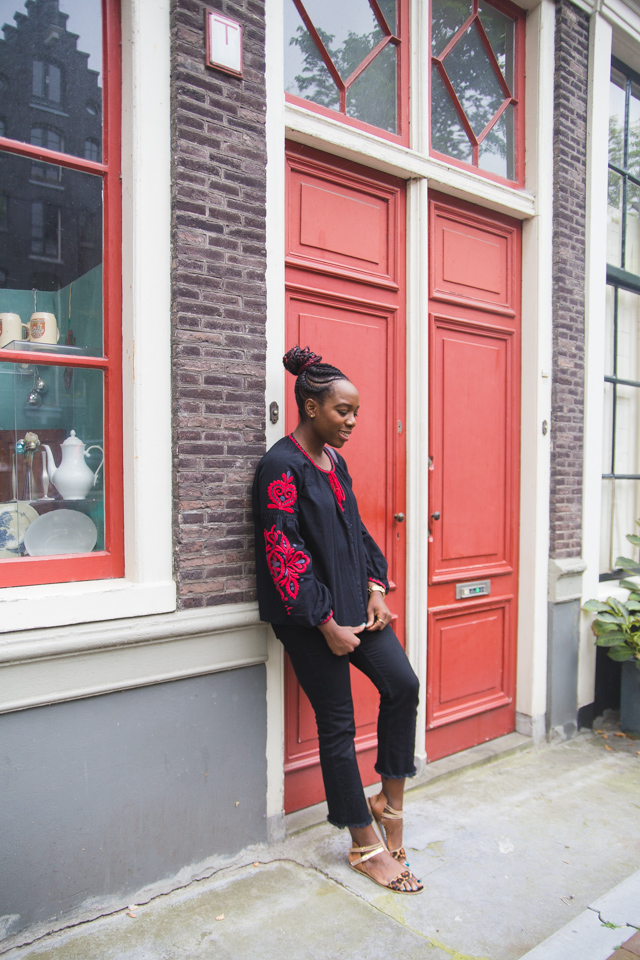 The perfect Autumn outfit for a day exploring Amsterdam, an embroidered Zara blouse and frayed Whistles jeans