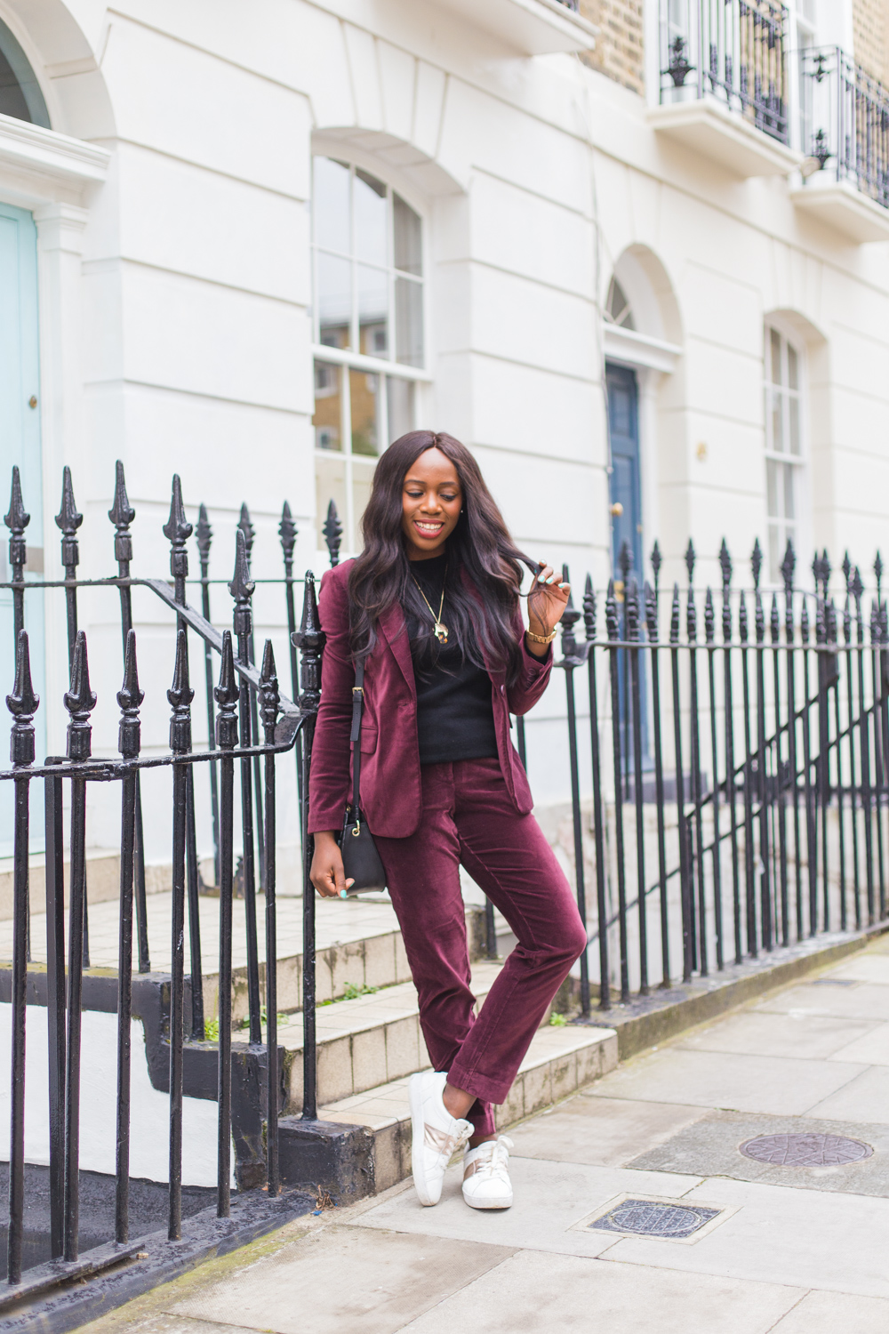 How I style my Boden velvet suit for Autumn, just add trainers!