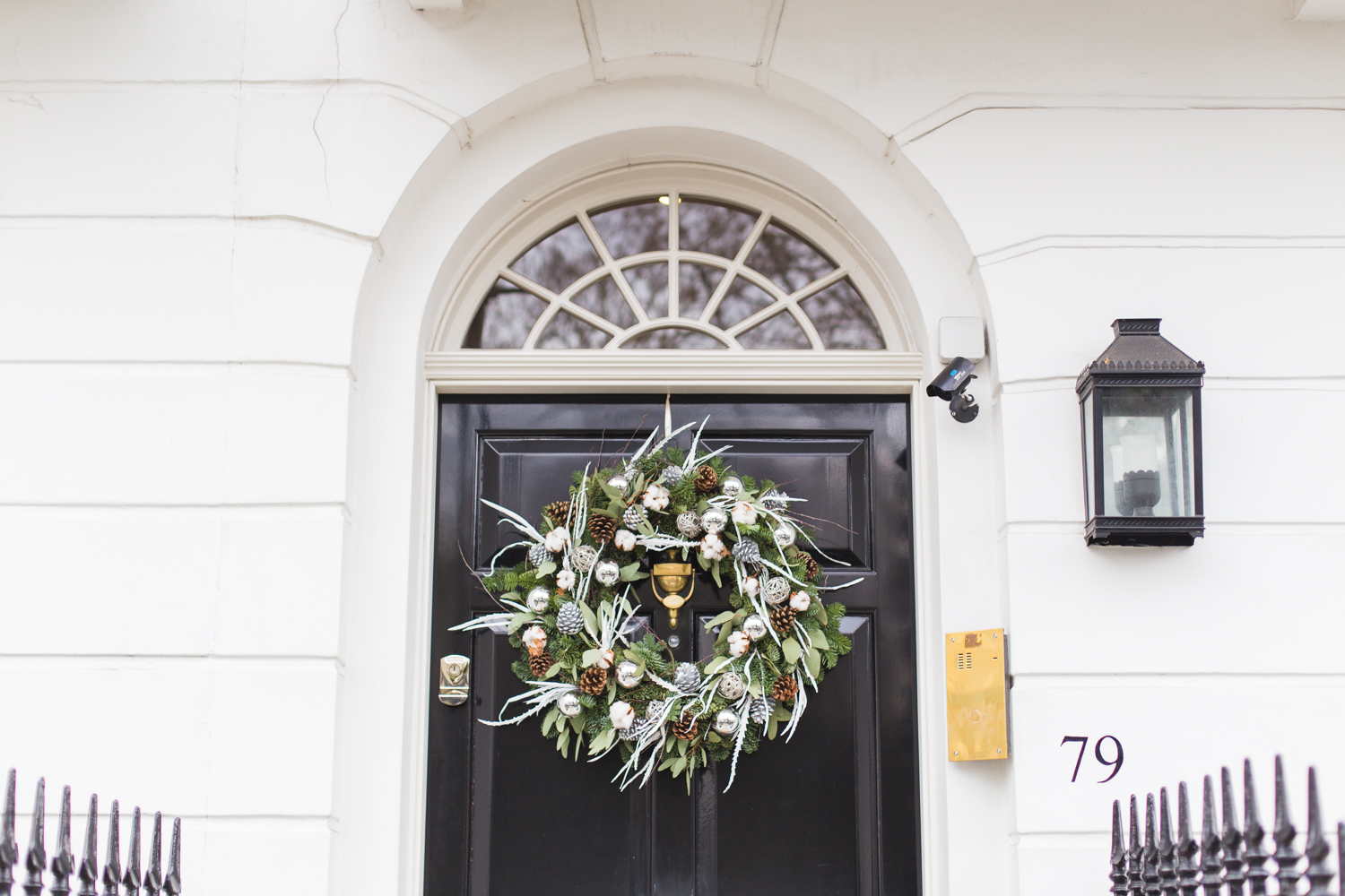 Christmas wreaths in West London.