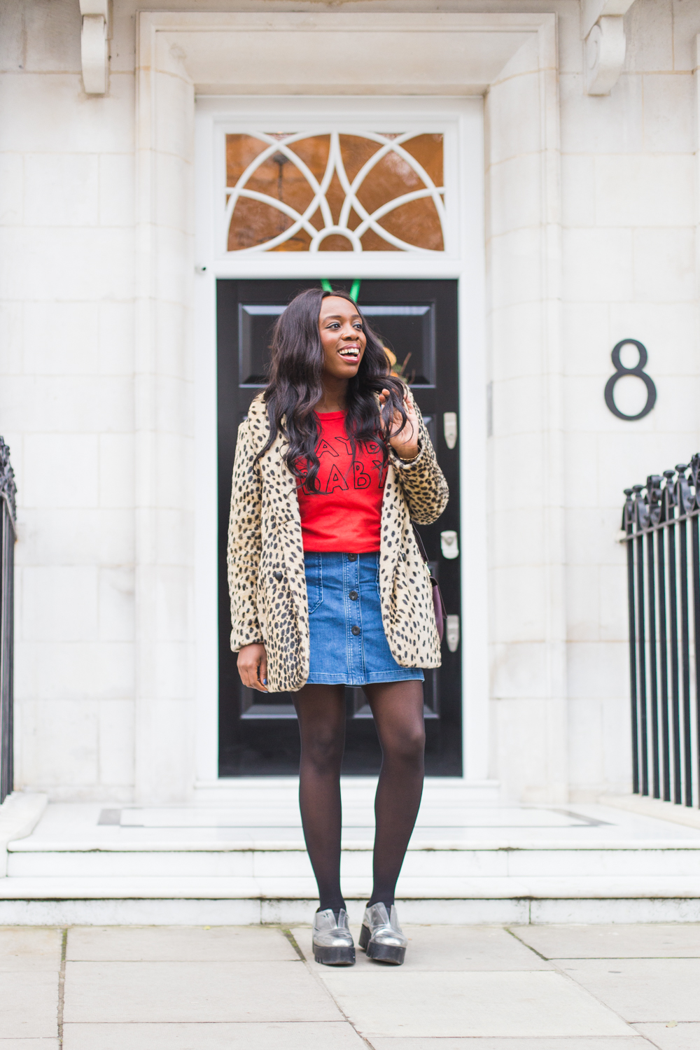 How do I style my leopard print coat? Just add a red Joanie jumper, Boden denim and a Cameron Street leather Byrdie Kate Spade bag.