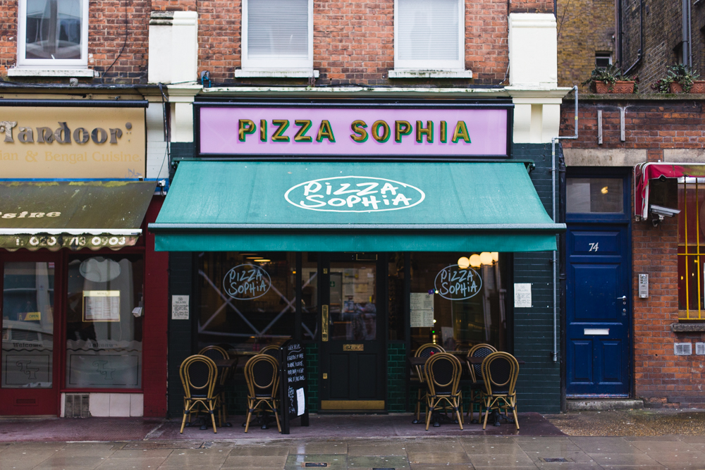 Pizza Sophia is a cute pizza place in Bloomsbury, Central London.