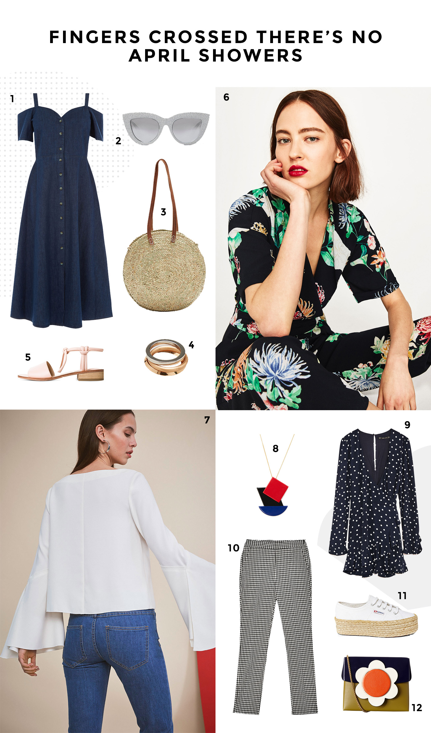 Here's April's wishlist featuring my favourite trends for the season, gingham, basket bags and flouncy sleeves.
