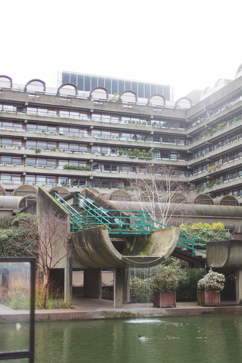 The Brutalist architecture of the Barbican situated in the City Of London.