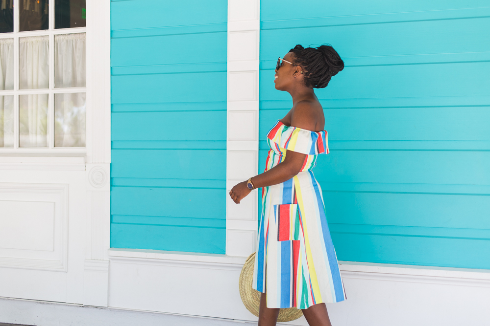 Need an off the shoulder dress for Summer? This ASOS style is colourful and suits most body shapes.