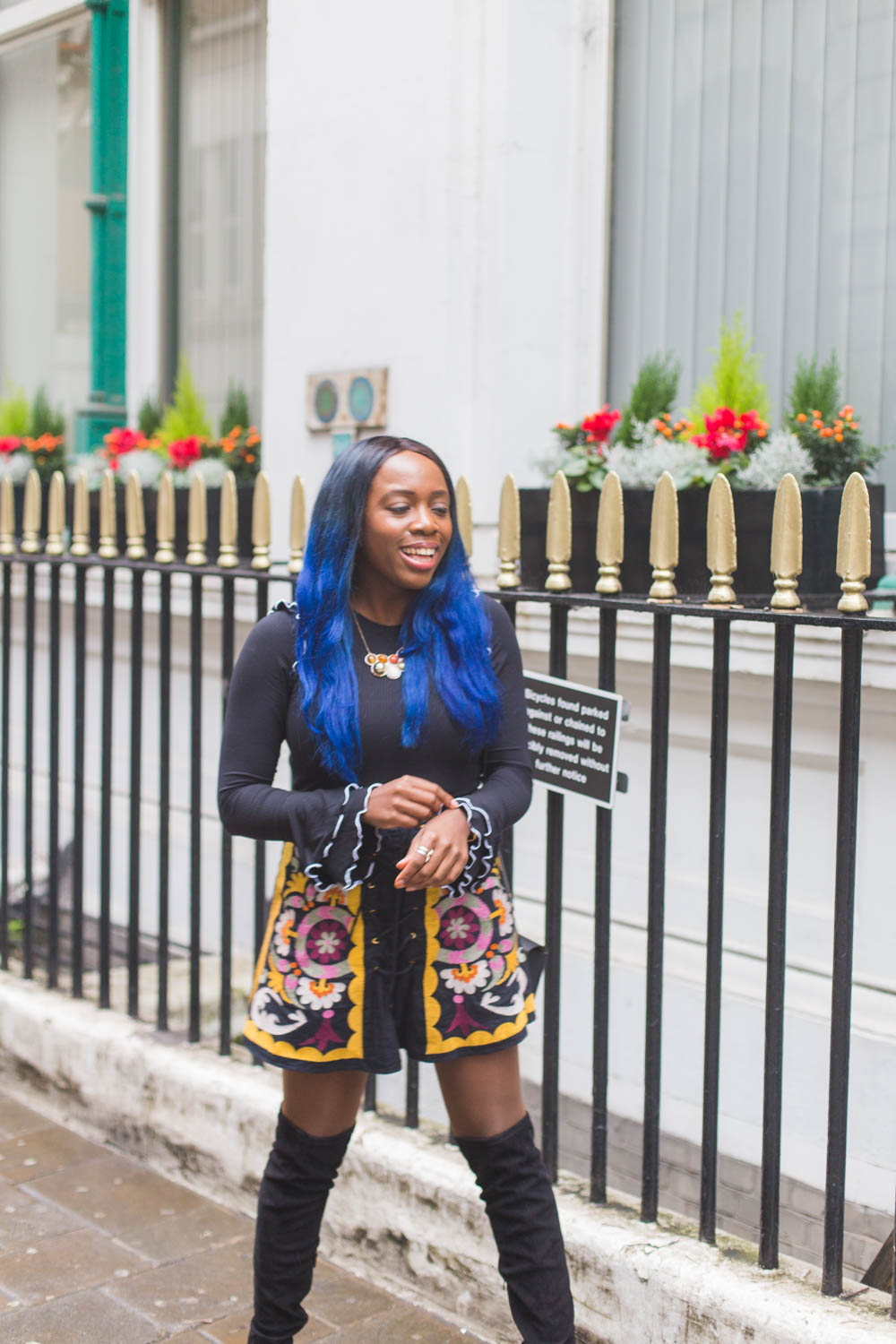 Mango top & ASOS embroidered skirt - How does one dress for a British Autumn? With vivid florals, quirky knits and lots of denim of course! I'm sharing my strategy for transitional outfits.
