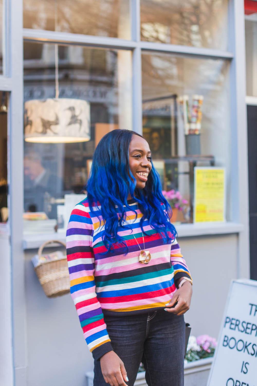 Blogger Kristabel Plummer styles a crazy stripe Monki jumper.